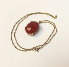 1960 9ct Yellow Gold Carnelian Pendant Necklace