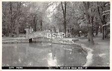 Wisconsin Wi Real Photo Rppc Postcard 1958 Beaver Dam City Park Stone Bridge