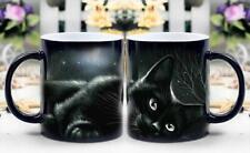 Black cat in moonlight-Heat Sensitive Color Changing Coffee Cup-Magic mug