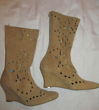 CATERINA LUCCHI tan beige perforated wedge heel soft suede mid calf boots 8 8.5
