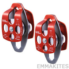 2Pcs Aluminum 32kN Mobile Double Pulley For Rope Rescue Tree Climbing Industrial