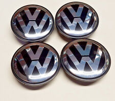 4x VW VOLKSWAGEN LOGO CHROME BLACK WHEEL RIM CENTER HUB CAPS NEW 65 3B7601171XRW
