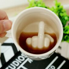 Up Yours Mug 3D Hidden Middle Finger F*CK OFF Ceramic Coffee Cup Funny Joke Gift