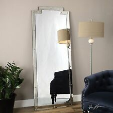 """HUGE 76"""" SMOKED BEVELED MIRRORED FRAME GOLD NAIL HEADS WALL FLOOR MIRROR"""