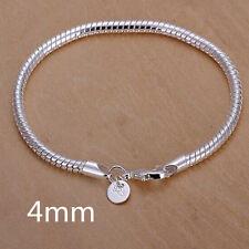 Wholesale Men's Hot Silver 4MM Snake Chain Bracelet Jewelry