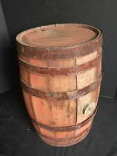 Antique Pre-Prohibition Red Painted Wooden Beer Keg H.E. Shaw Springfield, MA