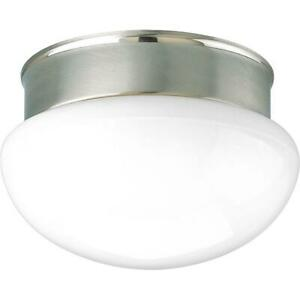 Progress Lighting 1-Light Brushed Nickel Flush Mount with White Glass