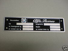 Alfa Romeo Data Plate Acid Etched Aluminum with color logo