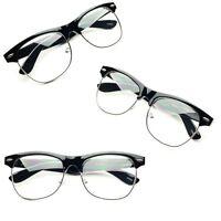 Vintage Half Frame CLEAR LENS GLASSES Black Color Vintage Retro Fashion