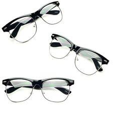Vintage Half Frame CLEAR LENS GLASSES Black Silver Color Vintage  Retro Fashion