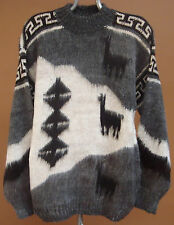 NEW, 100% ALPACA WOOL HAND KNITTED MEN´S SWEATER, XL SIZE, MULTICOLOR, ANDEAN a