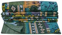 Indian Kantha Quilt Twin Bedspread Reversible Ikat Blanket Throw Handmade Gudari