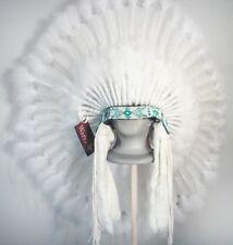 Native American White Ceremonial Feather Headdress War Bonnet