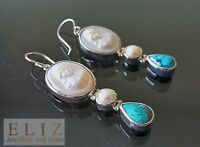 Handmade Cameo Mother of Pearl Turquoise STERLING SILVER 925 Long Earrings