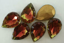 2 Vintage Glass Pear Rhinestones Red/Green Cuba Scalloped TTC Foil 18x13mm F2-3D