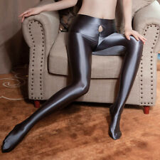 Women Sexy Shiny High Gloss Pantyhose Satin Silky Tights Stockings Zipper Crotch