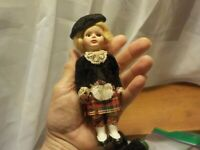 Scottish Character Doll w/ Kilt,, Velvet Jacket & Beret Jointed with Lace Accent