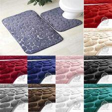 Pebbles Memory Foam Bath & Pedestal Mat Sets Non Slip Soft Luxury Bathroom New