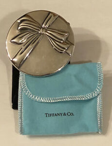 Vintage Tiffany & Co. Bow Design Silver Plate Compact Hand Purse Makeup Mirror