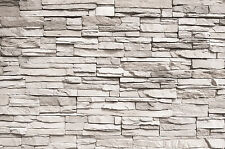 Weiße Steinwand Steinoptik Fototapete Wandbild Steine Wanddeko 140cm x 100cm