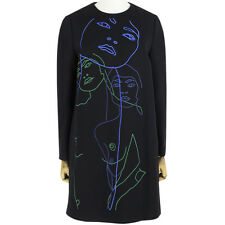 Stella McCartney Black Blue Green Embroidered Portrait Shift Dress IT40 UK8