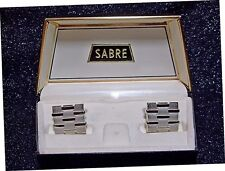 Sabre by Swank Woven Silver-Tone Cufflinks Original Box