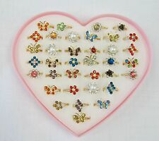 Wholesale 36 Children's Girls Adjustable Fashion Rings Butterfly Flower Assorted