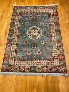NAVY BLUE Vintage Faded Oriental Afghan Ziegler Distressed Silk Like Rugs Runner