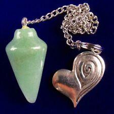 Heart Pendant Bead W00858 Green Natural Aventurine Pendulum&Tibetan Silver