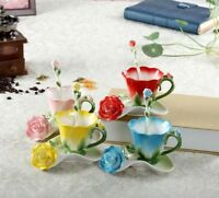 Tea Coffee Cup Set Rose Enamel Milk Mug Spoon Saucer Creative Ceramic Drinkware