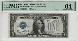 1928 A $1 SILVER CERTIFICATE NEAR SOLID SERIAL FR.1601 PMG CHOICE UNC 64 (442A)