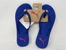 NEW! Puma Women's First Flip Dots Thong Flip Flops Blue/Pink #361698-03 140E r