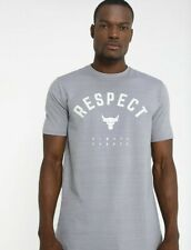 UNDER ARMOUR PROJECT ROCK USDNA RESPECT ALWAYS EARNED Gray T-SHIRT Men's SZ S