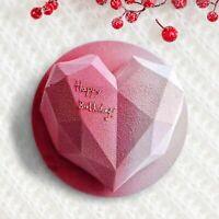 3D Cake Mold Diamond Love Heart Shape Silicone Baking Tool Sponge Dessert Decor