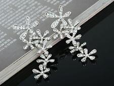Fashion Women's Crystal Rhinestone  Ear Stud Snowflake Flower Dangle Earrings