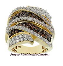 YELLOW GOLD SILVER BRANDY DIAMONDORABLES CHOCOLATE BROWN STUNNING QUEEN BEE RING