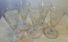 5  Antique Knopped Dwarf Ale Glasses with Hops & Barley Etching. Pontil marks