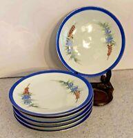 Vintage Bavarian porcelain plate set of 6 decorative dessert blue & white floral
