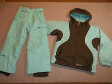 BURTON SKI SNOW SUIT 2 PC SET OUTFIT JACKET PANTS HOOD INSULATE GIRL'S S M 6 7 8