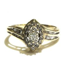 diamond halo engagement ring 2.5g estate 10k yellow gold .259ct Vs1 G marquise