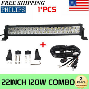 "22''inch 120W COMBO LED Light Bar Offroad Driving Lamp ATV Boat 20""+ Wiring Kit"
