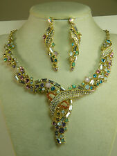 NECKLACE: + EARRINGS SWARVOSKI RHINESTONES & CRYSTALS BEAUTIFUL PASTELS