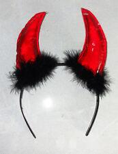 Halloween devil horn headband adult size bright shiny red horns