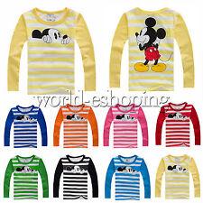 INFANTIL NIÑO NIÑA DIBUJOS Mickey camiseta manga larga rayas suéter blusa