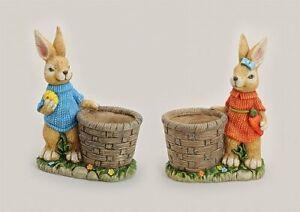 Osterhasen Paar Mann und Frau mit Pflanztopf 2er Set