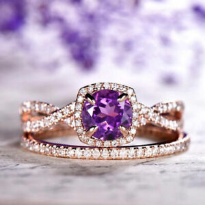 1Ct Round Natural Amethyst Synt Diamond Engagement Ring Set Rose Gold Fns Silver
