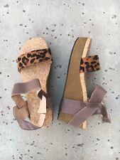 Animal Print Flatforms Wedges Womens 9.5 US Platform Sandals Cheetah Cork EU 42