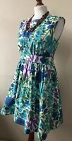 Emily & Fin Dress Size 10 Blue Multi Floral Lined Sleeveless Scoop Neck Dress