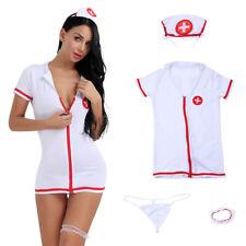 Damen Dessous Set Krankenschwester Kostüm Uniform Unterwäsche Nachtwäsche Sexy