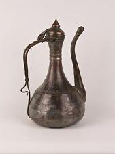 A 19th CENTURY Turco Ottomano islamico brocca di rame stagnato-manico insolito.